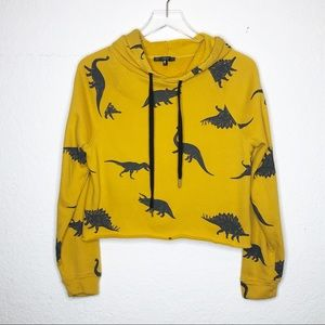Dinosaur Print Yellow Cropped Hoodie Size Large